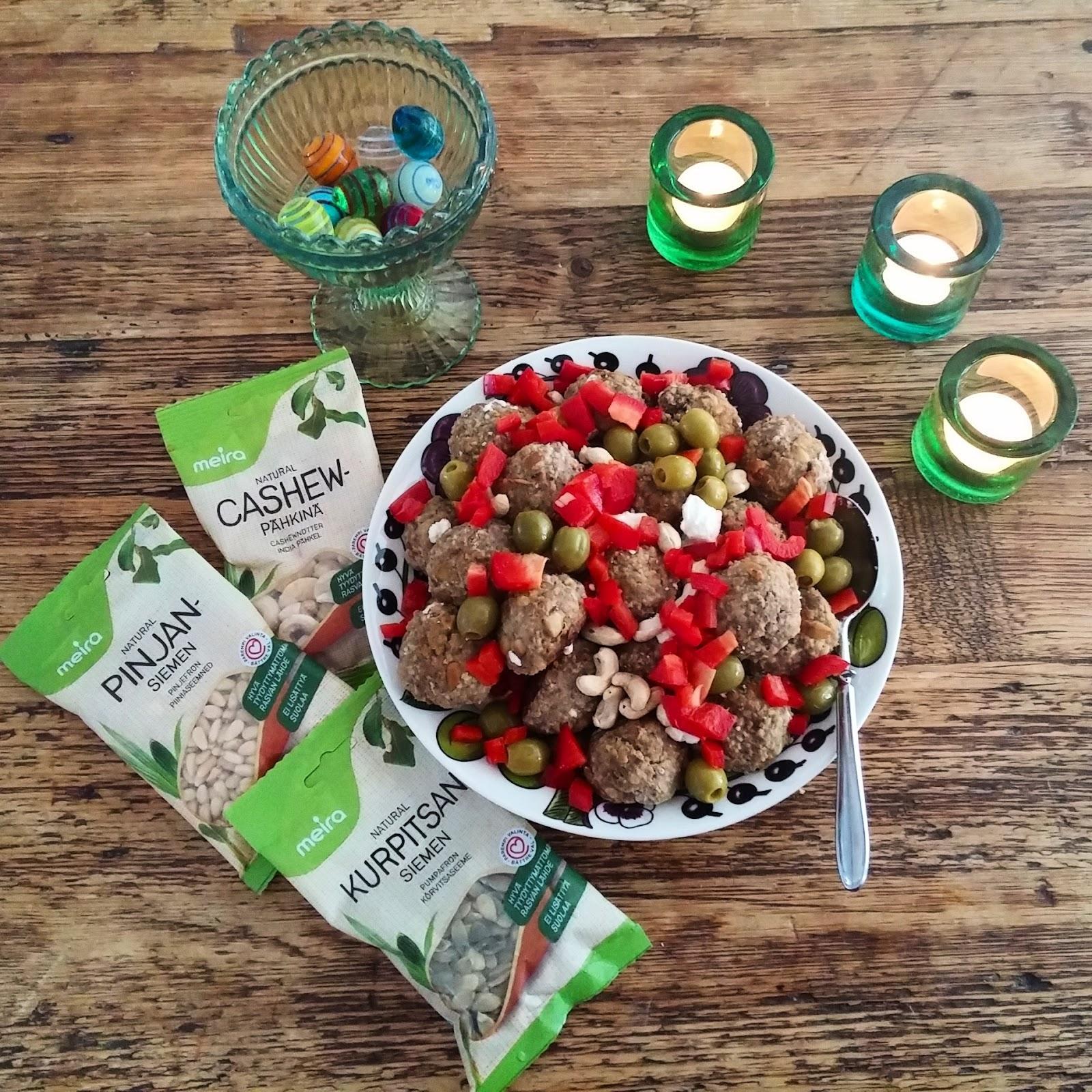 Arvonnassa Meiran pähkinäisiä palkintoja ja herkulliset lihapullat pähkinäisellä twistillä!