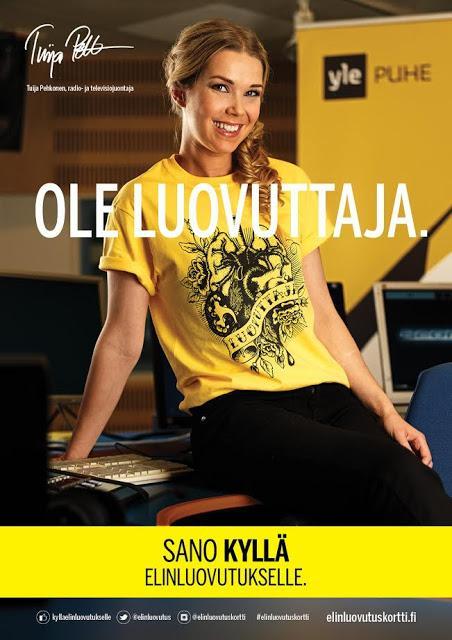 Ivana Helsinki Elinluovuttaja t-paidan voittajat ja lisäinfoa elinluovutuksesta,